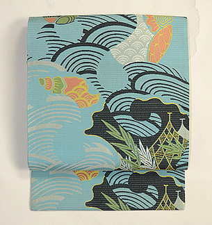 海賦模様絽織名古屋帯