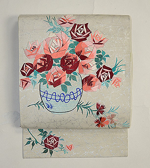 アールデコ薔薇刺繍名古屋帯