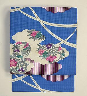 雲取りに花の丸絹紅梅織染名古屋帯