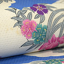 雲取りに花の丸絹紅梅織染名古屋帯 質感・風合