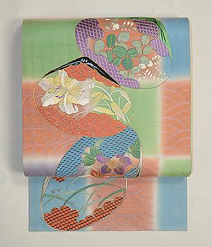 夏花の貝合わせ刺繍紗開き名古屋帯