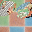 夏花の貝合わせ刺繍紗開き名古屋帯 前中心