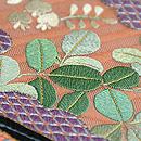 夏花の貝合わせ刺繍紗開き名古屋帯 質感・風合