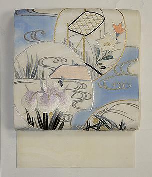 流水に団扇地紙刺繍紗開き名古屋帯