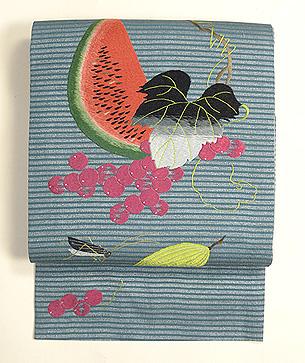 夏の果物にコオロギ刺繍名古屋帯