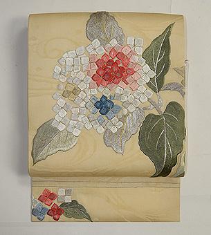 紫陽花刺繍紗名古屋帯