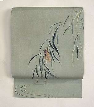 柳に蝉刺繍名古屋帯