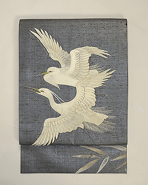 銀地に白鷺の刺繍帯