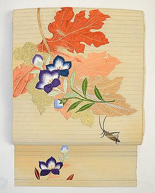 桐の葉に桔梗とバッタの単衣帯