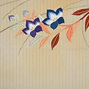 桐の葉に桔梗とバッタの単衣帯 前中心