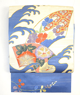 扇面に花と波の図名古屋帯