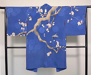梅枝にうぐいすブルーの羽織