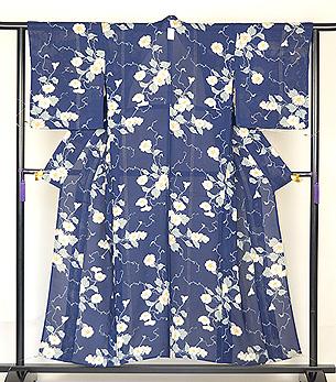 青色地ムクゲの花の小紋