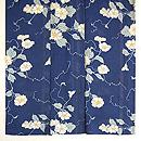 青色地ムクゲの花の小紋 上前