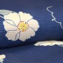 青色地ムクゲの花の小紋 質感・風合