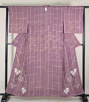 葡萄色紋錦紗変わり格子袷お散歩着