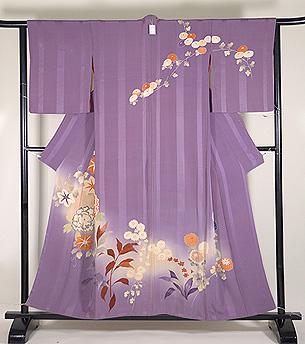 薄紫地四季の花文様訪問着
