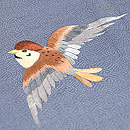 紋縮緬葉と雀の刺繍付下 質感・風合