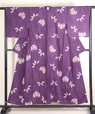 笹とふくら雀の絞り紫根染袷