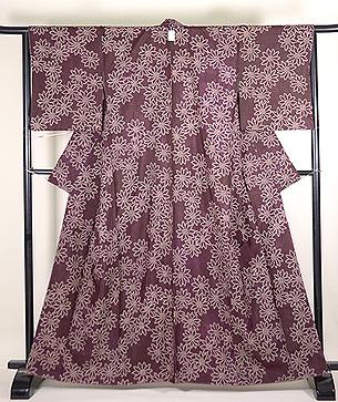 菊絞り小紋紫根染袷