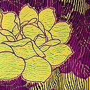 黄色よろけ縞にバラの小紋 質感・風合
