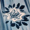縞ぼかしにバラの水色小紋 質感・風合