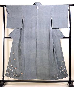 雀の刺繍江戸小紋