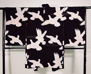 鳩の絵羽織