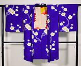 紫地疋田に梅の絞り模様羽織 正面