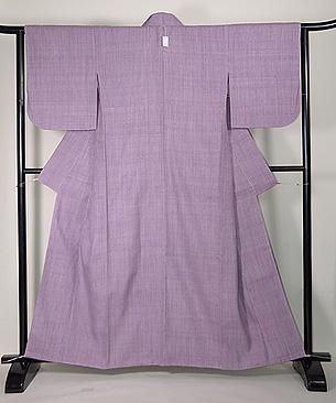浅紫色縦節紬