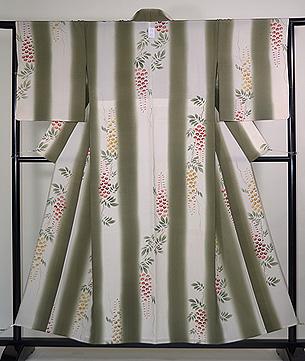 藤の花の単衣小紋