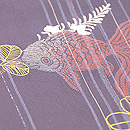 縞に金魚と萩の紗小紋 質感・風合