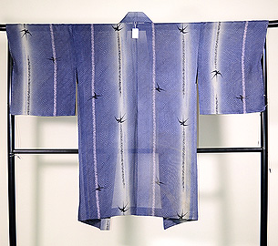 柳にツバメ絽の羽織