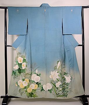 すすきと四季の花三つ紋色留袖単衣
