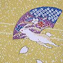 蒔糊に梅と扇面うさぎの羽織 質感・風合