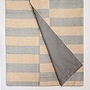 伊兵衛織 ベージュに青竹色横段袷紬 上前