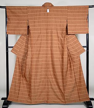 伊兵衛織 薄茶縞の単衣紬