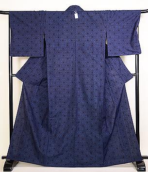 綿薩摩麻の葉紋単衣