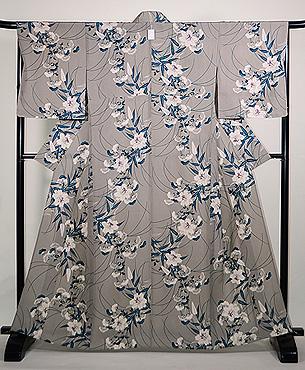 山百合と女郎花の単衣小紋