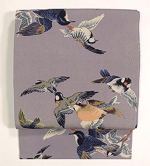 小鳥たちの図縮緬名古屋帯
