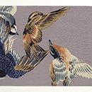 小鳥たちの図縮緬名古屋帯 前中心
