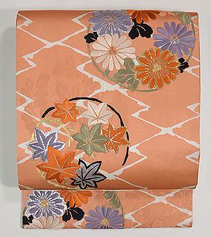 菊にモミジ丸紋名古屋帯