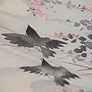 秋の水辺にカラス 手描き名古屋帯 質感・風合