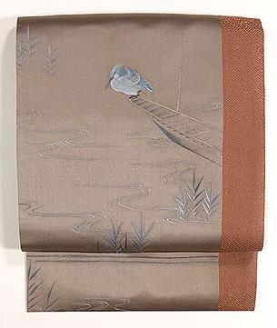 鷺と船刺繍名古屋帯
