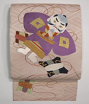 凧の刺繍袋帯