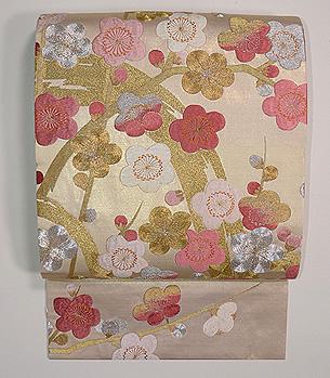 白金地丸梅の刺繍開き名古屋帯