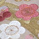 白金地丸梅の刺繍開き名古屋帯 質感・風合