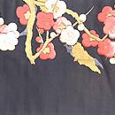 黒地紅白梅刺繍開き名古屋帯 前中心