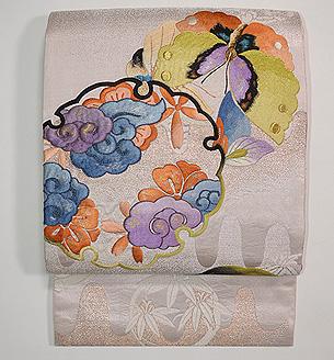 松竹梅壺垂れ地紋花丸刺繍袋帯