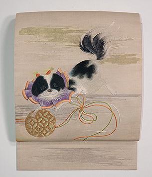 狆と鈴刺繍名古屋帯